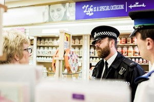 Police officers in a shop