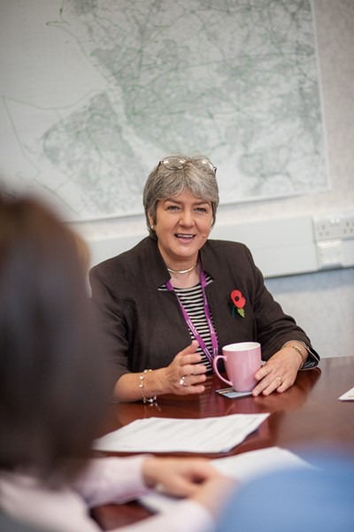 Jane Kennedy in a meeting