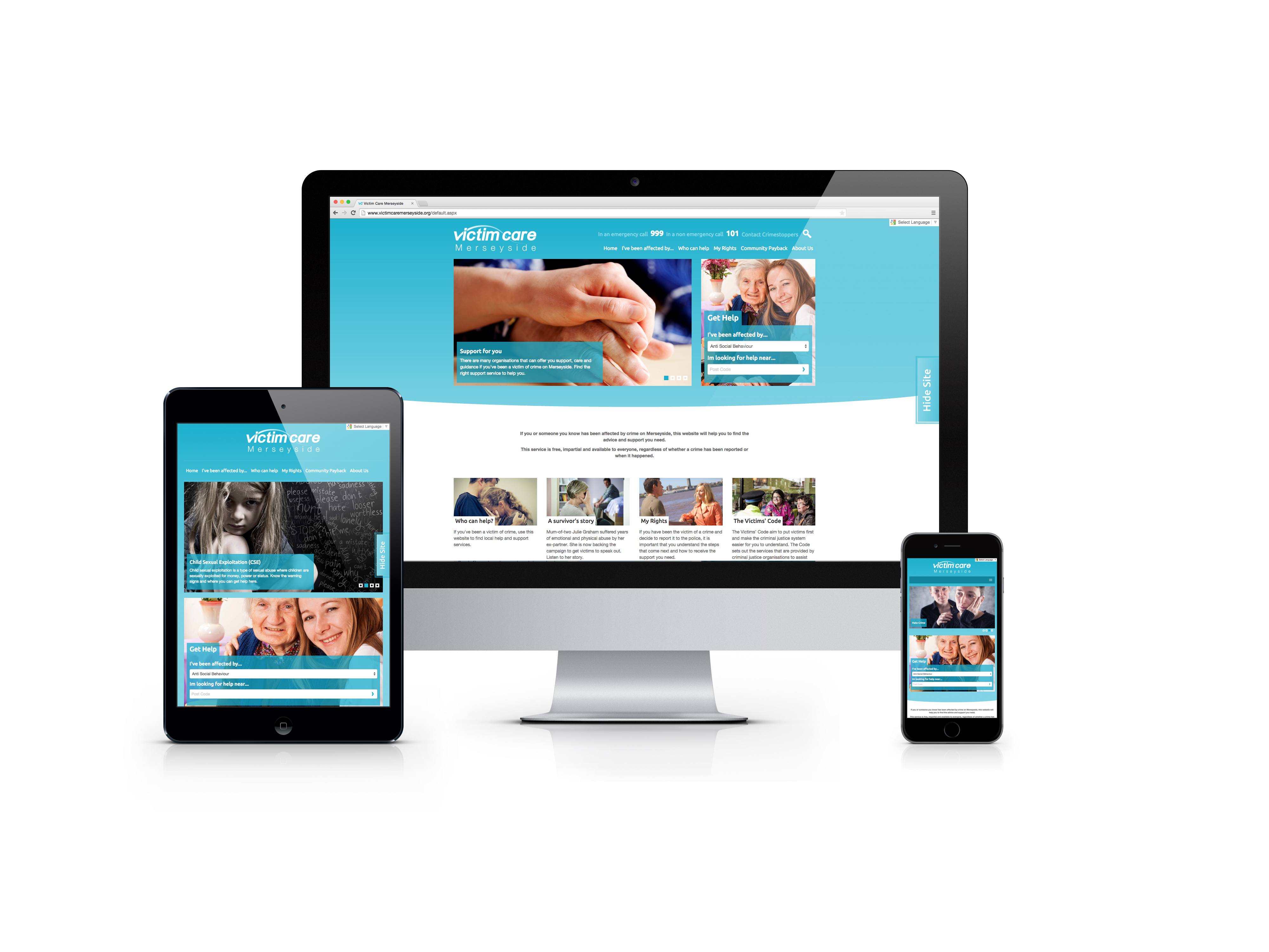 Victim Care Merseyside on a range of devices