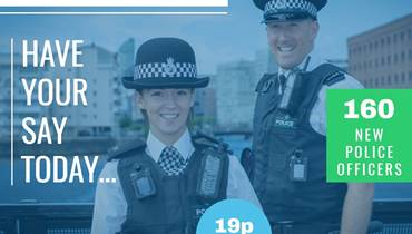 Male and female officer smiling at camera with details of precept consultation
